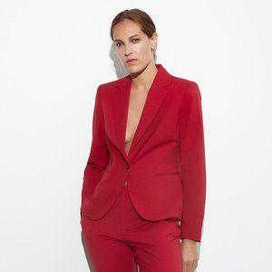 NWT Zara Tailored Single Button Red Blazer Jacket